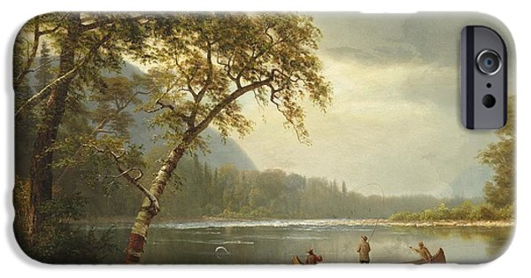 Rural Schools iPhone Cases - Salmon fishing on the Caspapediac River iPhone Case by Albert Bierstadt