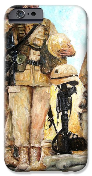 Iraq Paintings iPhone Cases - Saluting The Fallen iPhone Case by Leonardo Ruggieri
