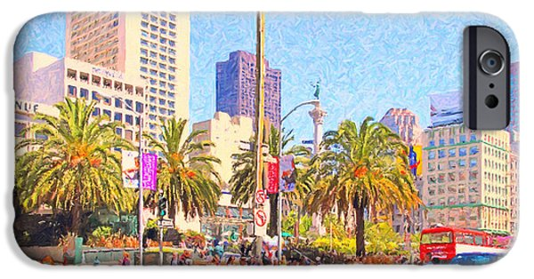 Bank Of America iPhone Cases - San Francisco Union Square iPhone Case by Wingsdomain Art and Photography