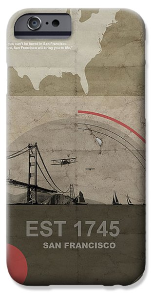 Beach Pyrography iPhone Cases - San Fransisco iPhone Case by Naxart Studio