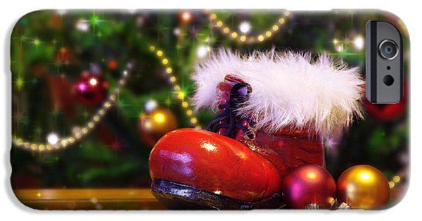 Glass Table Reflection iPhone Cases - Santa-claus boot iPhone Case by Carlos Caetano