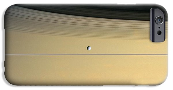 21st Century iPhone Cases - Saturn And Its Moon Dione iPhone Case by NASA/Science Source