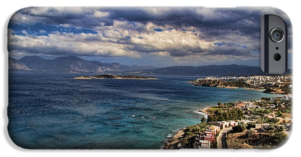 Panoramic Ocean iPhone Cases - Scenic view of eastern Crete iPhone Case by David Smith