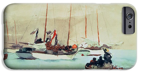 Boat Paintings iPhone Cases - Schooners at Anchor in Key West iPhone Case by Winslow Homer