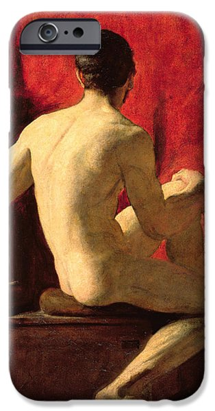 Model iPhone Cases - Seated Male Model iPhone Case by William Etty