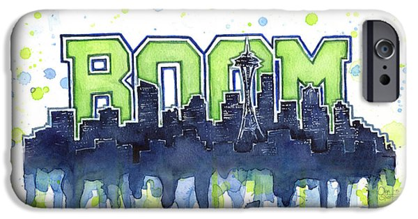 Drip iPhone Cases - Seattle 12th Man Legion of Boom Watercolor iPhone Case by Olga Shvartsur