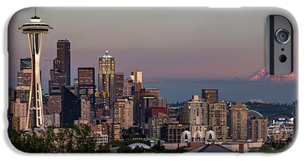 IPhone 6 Case featuring the photograph Seattle Skyline And Mt. Rainier Panoramic Hd by Adam Romanowicz