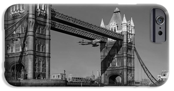 IPhone 6 Case featuring the photograph Seven Seconds - The Tower Bridge Hawker Hunter Incident Bw Versio by Gary Eason