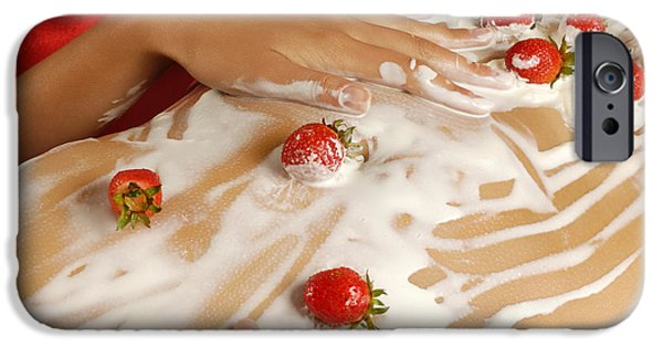 Young Adult iPhone Cases - Sexy Nude Woman Body Covered with Cream and Strawberries iPhone Case by Oleksiy Maksymenko