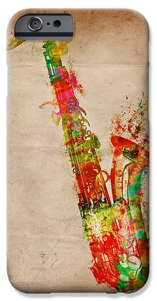 Vibrant Digital Art iPhone Cases - Sexy Saxaphone iPhone Case by Nikki Marie Smith
