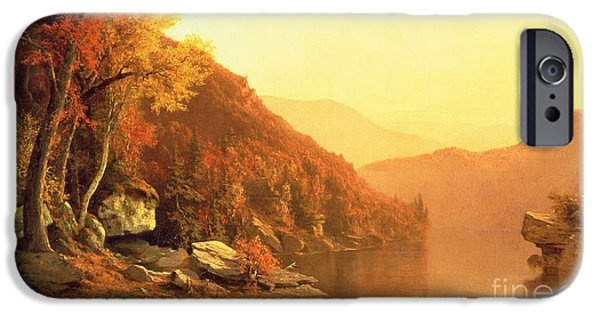 Orange iPhone Cases - Shawanagunk Mountains iPhone Case by Jervis McEntee