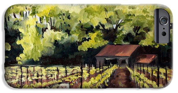 Vineyard Landscape iPhone Cases - Shed in a Vineyard iPhone Case by Sarah Lynch