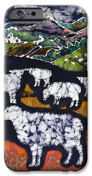 Village Tapestries - Textiles iPhone Cases - Sheep at Midnight iPhone Case by Carol  Law Conklin