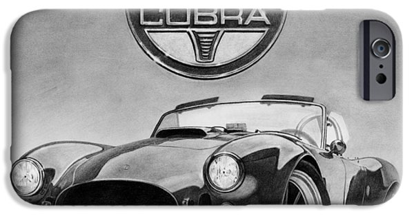 Graphite Drawing iPhone Cases - Shelby Cobra iPhone Case by Tim Dangaran