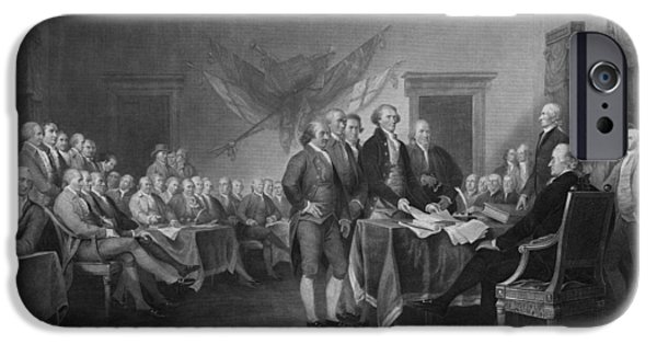 Patriots Day iPhone Cases - Signing The Declaration of Independence iPhone Case by War Is Hell Store