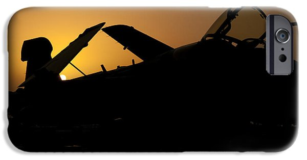 Electronic iPhone Cases - Silhouette Of An Ea-6b Prowler iPhone Case by Giovanni Colla