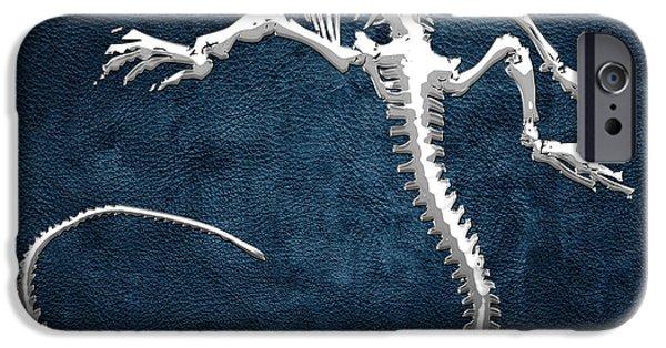 Silver Iguana Skeleton On Blue Silver Iguana Skeleton On Blue  IPhone 6 Case
