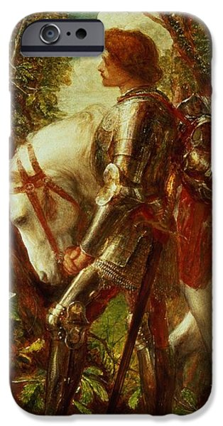 Fantasy iPhone Cases - Sir Galahad iPhone Case by George Frederic Watts