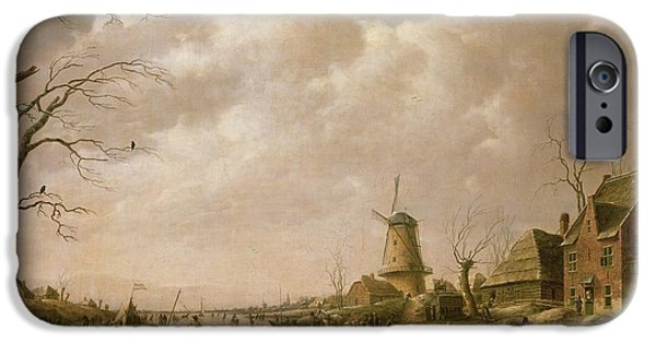 Holland Paintings iPhone Cases - Skaters on a Frozen Canal iPhone Case by Hendrik Willem Schweickardt