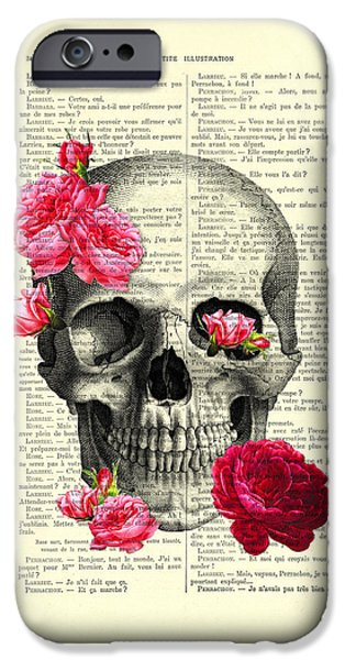 Red Rose iPhone 6 Case - Skull And Pink Roses by Madame Memento