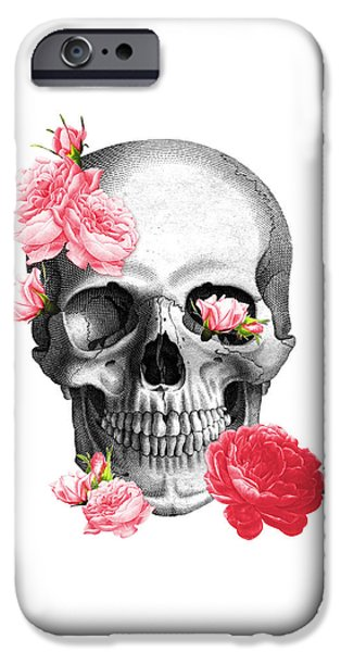 Red Rose iPhone 6 Case - Skull With Pink Roses Framed Art Print by Madame Memento