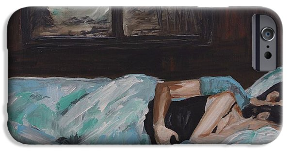 Couple iPhone Cases - Sleeping In iPhone Case by Leslie Allen