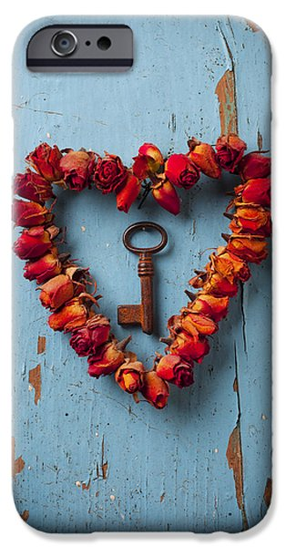 Red Rose iPhone 6 Case - Small Rose Heart Wreath With Key by Garry Gay