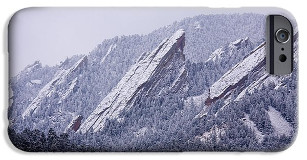 Snow iPhone Cases - Snow Dusted Flatirons Boulder Colorado iPhone Case by James BO  Insogna