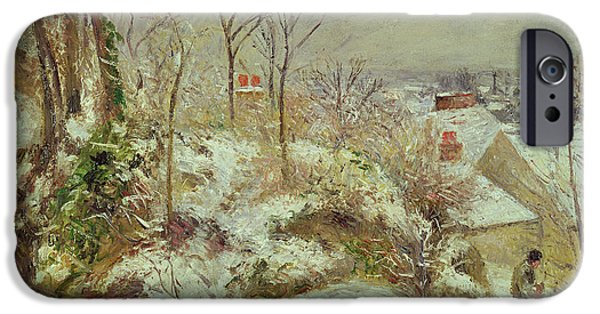 Snow Landscape iPhone Cases - Snow Scene iPhone Case by Camille Pissarro