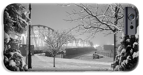 Blizzard iPhone Cases - Snowy Bridge with Trees iPhone Case by Jeremy Evensen