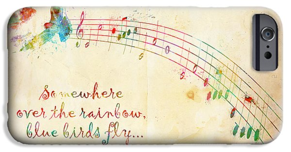 Quotation iPhone Cases - Somewhere Over the Rainbow iPhone Case by Nikki Smith