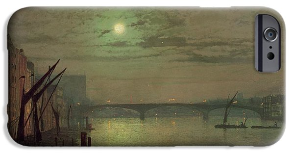 Industrial Paintings iPhone Cases - Southwark Bridge iPhone Case by John Atkinson Grimshaw