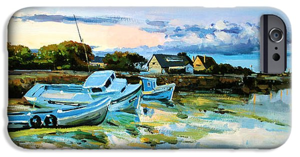 Boats In Water Paintings iPhone Cases - Spiddal Harbour iPhone Case by Conor McGuire