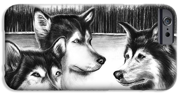 Husky Drawings iPhone Cases - Spirit Guides  iPhone Case by Peter Piatt