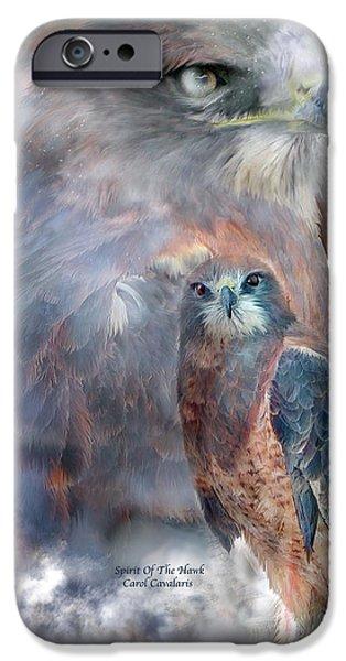Wildlife Mixed Media iPhone Cases - Spirit Of The Hawk iPhone Case by Carol Cavalaris