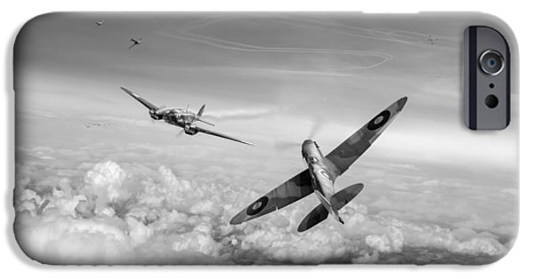 IPhone 6 Case featuring the photograph Spitfire Attacking Heinkel Bomber Black And White Version by Gary Eason