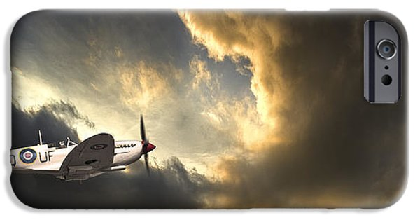 Drama iPhone Cases - Spitfire iPhone Case by Meirion Matthias