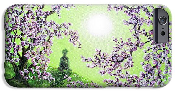 Buddhist Paintings iPhone Cases - Spring Morning Meditation iPhone Case by Laura Iverson