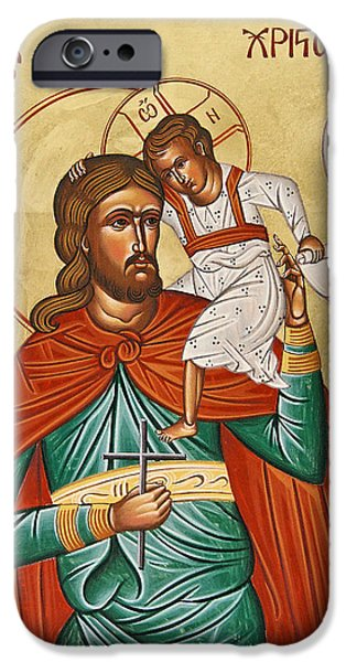 Saint Christopher iPhone Cases - St Christopher iPhone Case by Julia Bridget Hayes