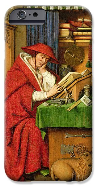 Sit-ins iPhone Cases - St. Jerome in his Study  iPhone Case by Jan van Eyck