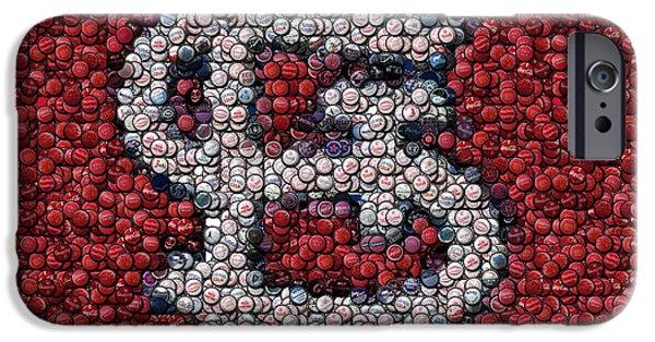 Mlb Mixed Media iPhone Cases - St. Louis Cardinals Bottle Cap Mosaic iPhone Case by Paul Van Scott