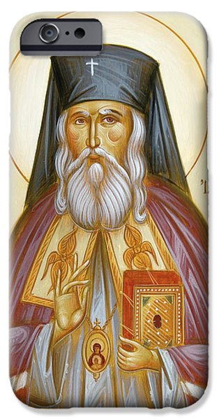 St Nicholas Icon iPhone Cases - St Nicholas of Japan iPhone Case by Julia Bridget Hayes