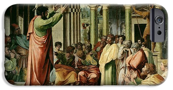 The Followers Paintings iPhone Cases - St. Paul Preaching at Athens  iPhone Case by Raphael