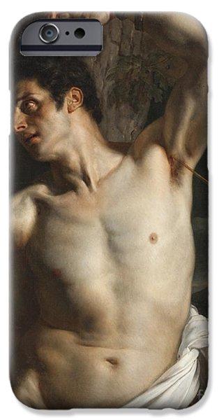 1856 iPhone Cases - St. Sebastian iPhone Case by Hippolyte Paul Delaroche