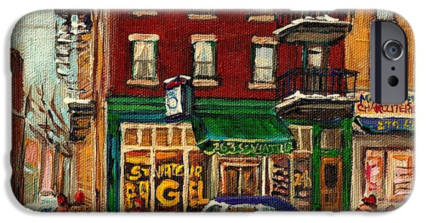 Montreal Bagels iPhone Cases - St Viateur Bagel And Mehadrins Deli iPhone Case by Carole Spandau