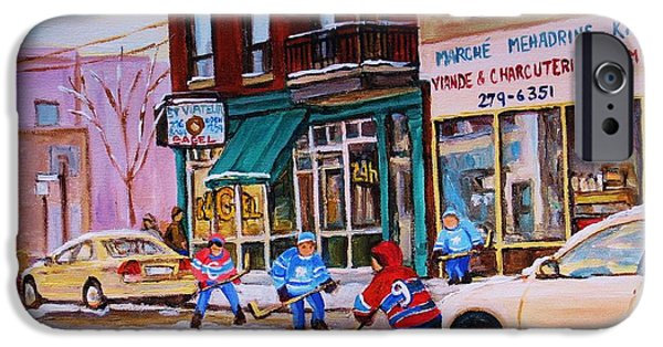 Montreal Land Marks Paintings iPhone Cases - St. Viateur Bagel with boys playing hockey iPhone Case by Carole Spandau