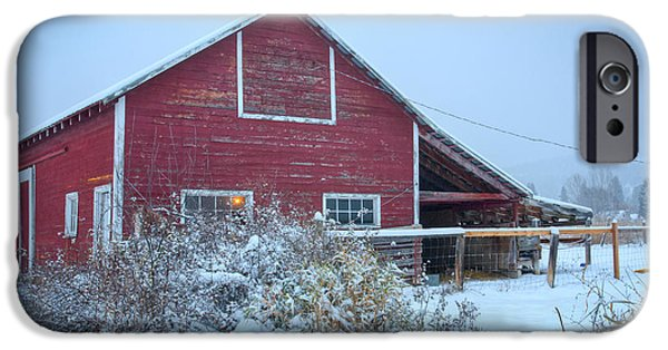 Best Sellers -  - Red Barn In Winter iPhone Cases - Stable Light iPhone Case by Idaho Scenic Images Linda Lantzy