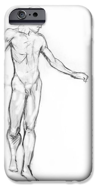 Gestures Drawings iPhone Cases - Standing Male Nude iPhone Case by Adam Long