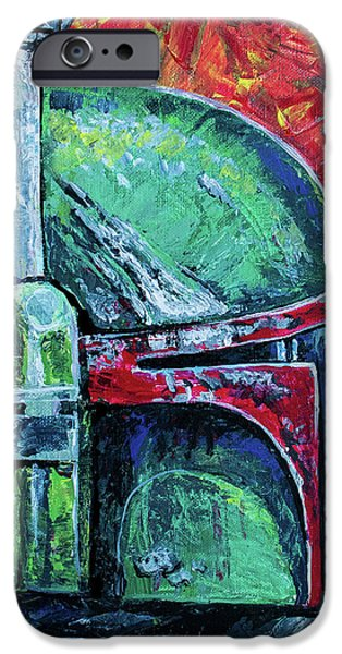 IPhone 6 Case featuring the painting Star Wars Helmet Series - Boba Fett by Aaron Spong