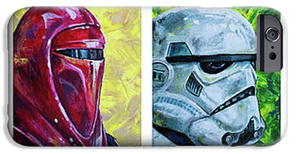 IPhone 6 Case featuring the painting Star Wars Helmet Series - Panorama by Aaron Spong
